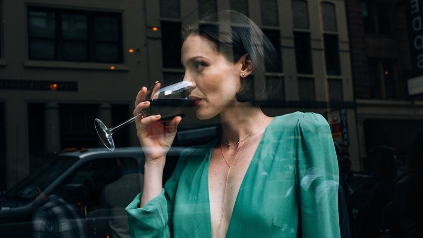 Woman Drinking Wine in SOMA